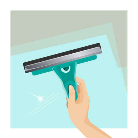 Window scrubber and squeegee on glass surface, working tool in human hand vector illustration. Illustration