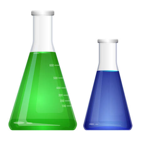 Laboratory flask with narrow neck. Blue green liquids in flasks Illustration