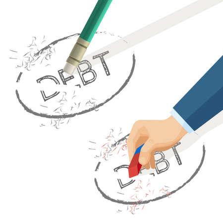 Personne effacer la dette de mot écrite sur papier, illustration vectorielle