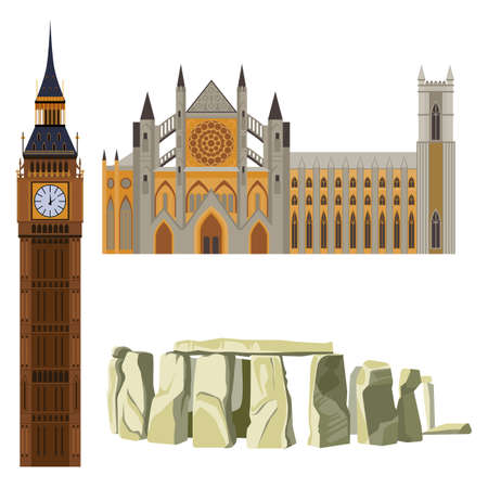 Sightseeing of Great Britain Westminster Abbey, Big Ben, Stonehenge concept vector illustration