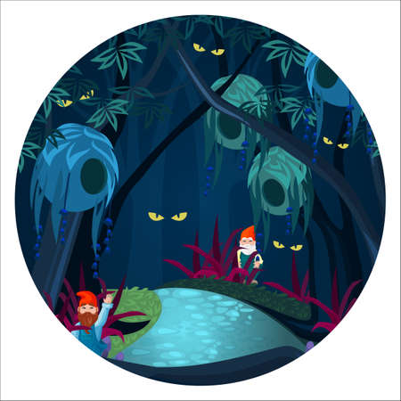 Enchanted forest with mysterious creatures, ghosts and gnomes vector illustration