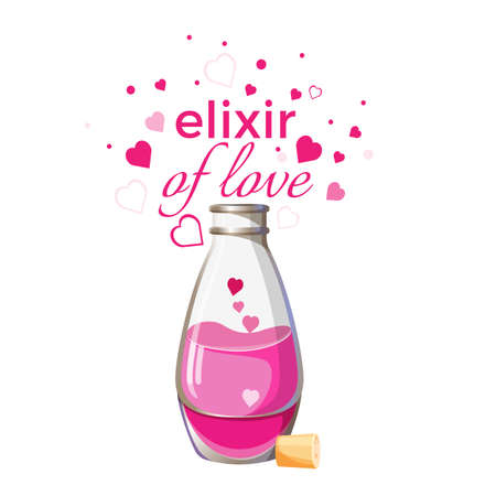 Elixir of love bottle with pink liquid and hearts isolated Çizim