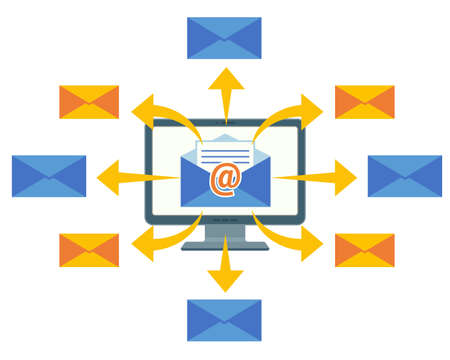 Email marketing concept vector computer screen and mailing