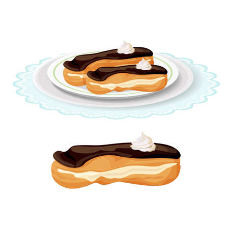 Creamy soft delicious eclair covered with chocolate on plate Illustration
