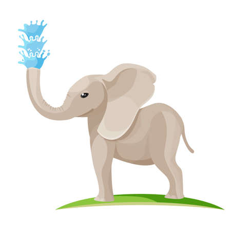Young baby elephant blows water out of trunk Illustration