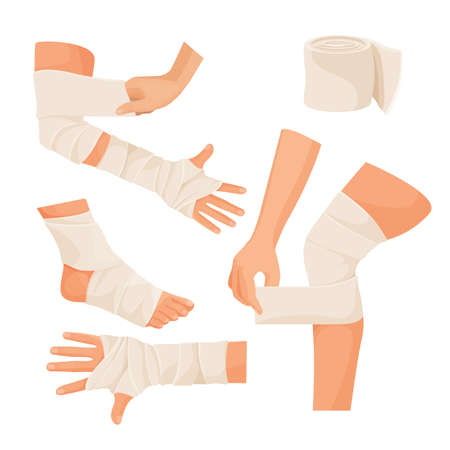 Elastic bandage on injured human body parts set