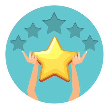 Evaluation in shiny gold stars for offered services. Grade in universal form. Human arms give estimation isolated cartoon vector illustration in circle.