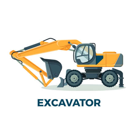 Powerful modern excavator with big ladle for building