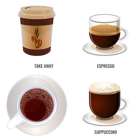 Take away coffee, strong espresso and sweet cappuccino Stok Fotoğraf