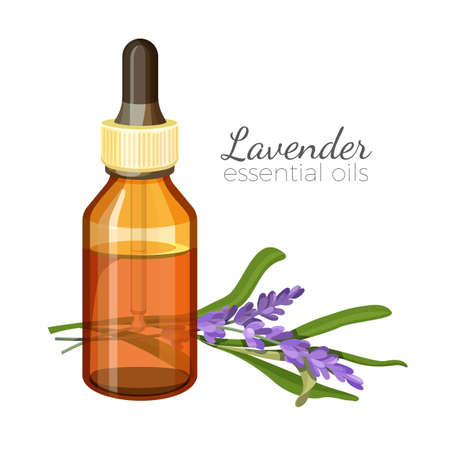 Lavender essential oil in glass bottle with pipette