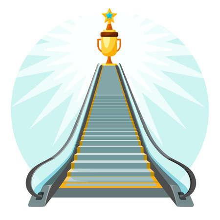 Konzeptionelles Plakat des Weges zum Erfolg mit Rolltreppe, die Treppen hochbewegt Vektorgrafik