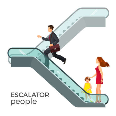 Escalator moving staircase consisting of endlessly circulating steps Vectores