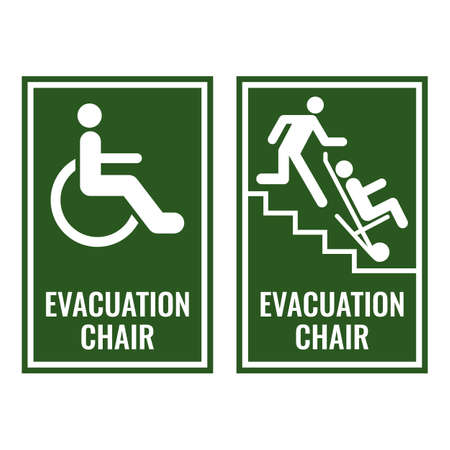 Evacuation chair green signboards for case of emergency Stock Illustratie