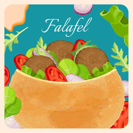 Falafel exotic eastern dish with meat and vegetables Illustration