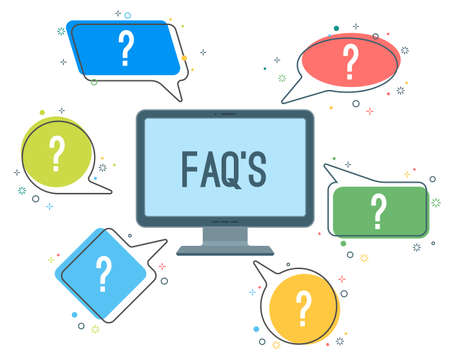 FAQ service minimalistic icons with question marks in speech clouds Иллюстрация