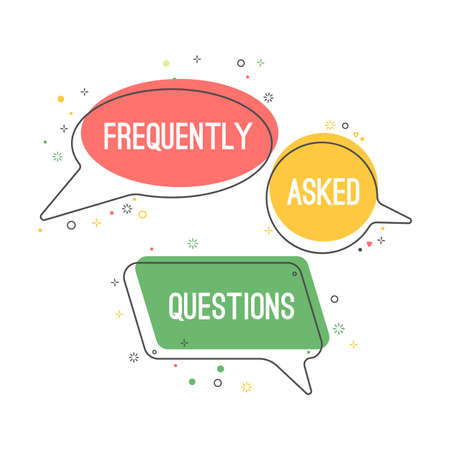 Frequently asked questions emblem on chat clouds set  イラスト・ベクター素材