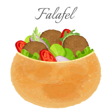 Delicious falafel full of meat and fresh vegetables Illustration