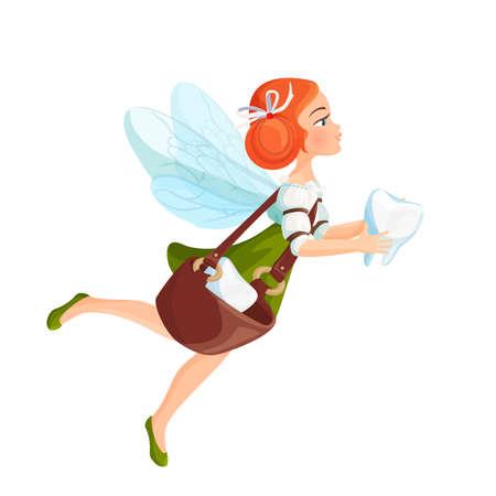 Hada de los dientes con alas transparentes en vestido verde Ilustración de vector