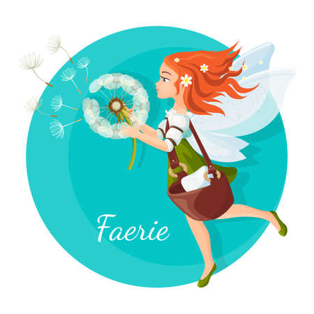 Redhead faerie with transparent wings holds dandelion logo Иллюстрация