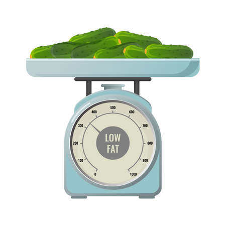Fresh cucumbers with low fat contain on mechanical scales