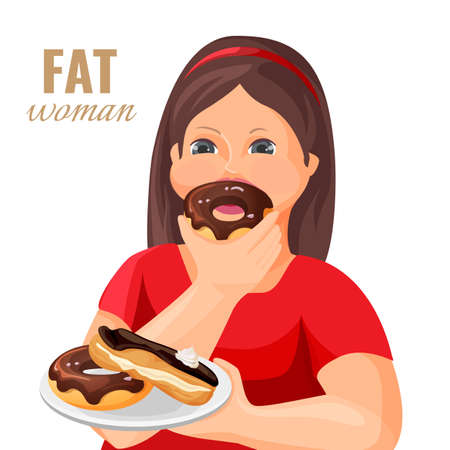 Fat woman eats donuts and cake covered with chocolate