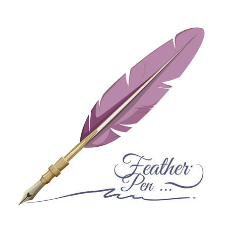 Feather pen writing implement made from feathers of bird