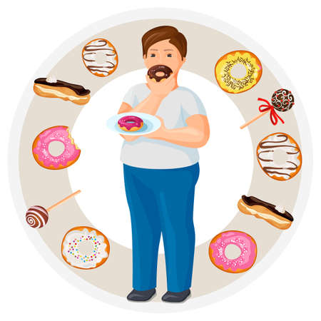 Fat guy eats donut surrounded with tasty sweets and desserts
