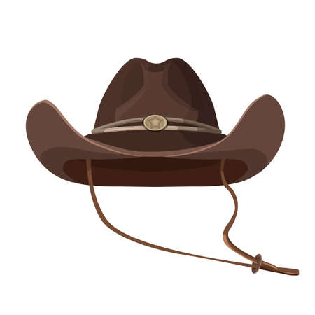 Vintage cowboy hat with lace in dark brown color