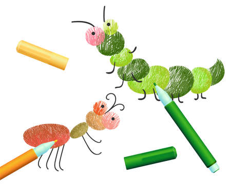 Coloring book with caterpillar ant insects colored by felt-tip pens