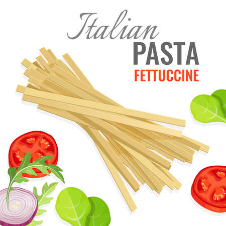 Italian pasta poster with fresh vegetables vector illustration