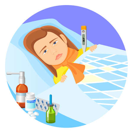 Child lying in bed with fever vector illustration