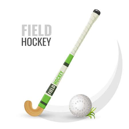 Illustrazione di vettore di attrezzature e gioco competitivo di hockey su prato