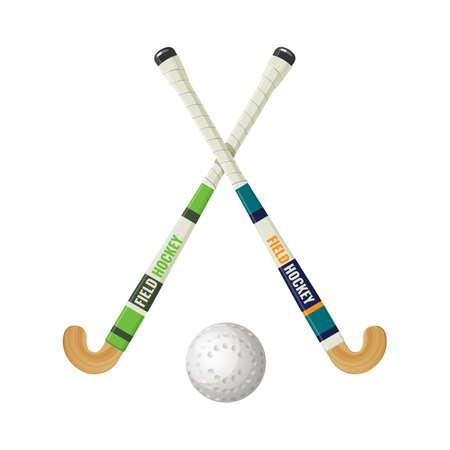 Field hockey equipment and small ball vector illustration