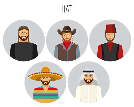 Hat types of men poster with headwear vector illustration