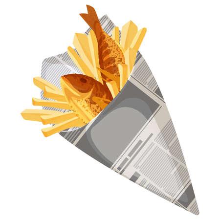 Icono de comida rápida tradicional de pescado y patatas fritas aislado. Comida de desayuno inglés envuelta en papel de periódico. Plato para comer al aire libre, comida para llevar ilustración vectorial