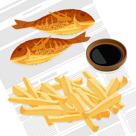 Fish and chips served with sauce in brown bowl. Meat and fired potato takeaway meal to eat outside. Traditional English breakfast vector illustration Illustration