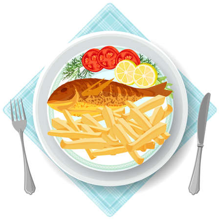 Fish and chips served with vegetables tomatoes and lemon slices. Traditional English British breakfast. Dish on napkin, fork and knife nearby, vector illustration
