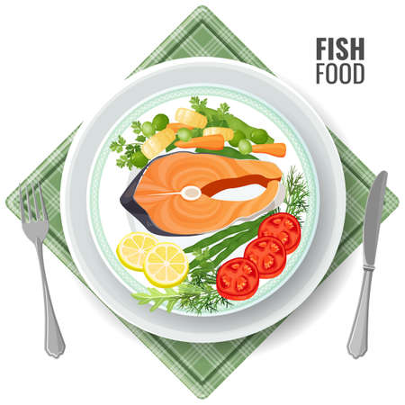 Fish food roasted salmon meat set. Slice served with vegetables lemon and tomatoes, dill and green pea. Meal with fork and knife on plate, serviette vector