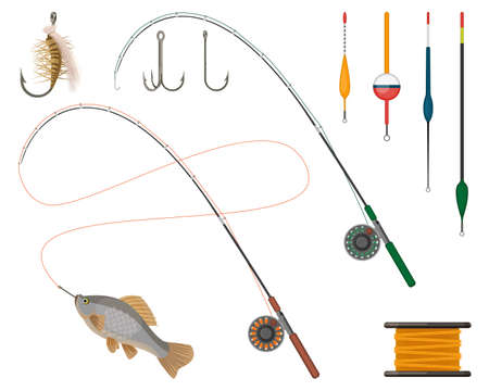 Fishing manufacturers and suppliers icons set. Reel and fishery rod, line spinning and floats, tacktles and bobbins. Catching fish sport hobby items vector