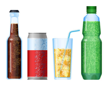 Fizzy drinks beverage with bubbles set. Plastic and glass bottles Illustration