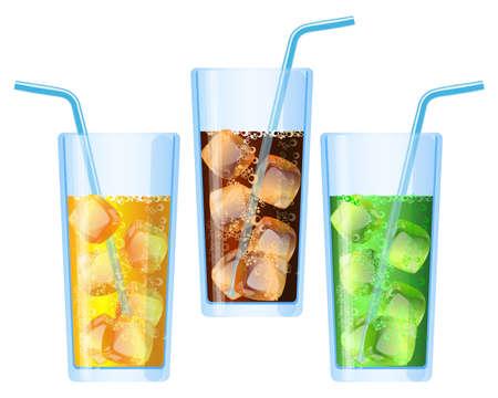 Fizzy drinks poured in glasses refreshing set vector illustration
