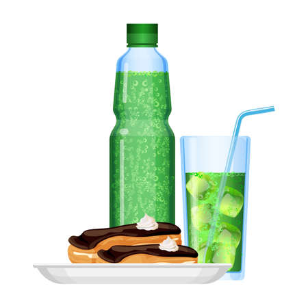Fizzy drinks in bottle and plate with food. Sweet dessert in plate, creme and chocolate. Beverage with ice cubes, straw poured in glass. Refreshment in summer vector