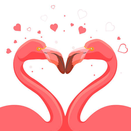 Pink flamingo kissing love of animals. Hearts symbolizing deep feelings of birds with long legs and neck. Tall wild exotic birds vector illustration  イラスト・ベクター素材