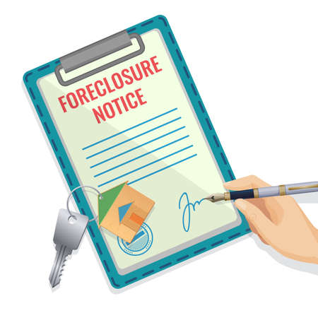 Foreclosure document pattern with hand and signature, silver key with house trinket, abstract vector blank for assets selling isolated on white background