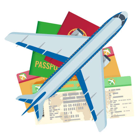 Passport tickets documents and airplane set. Identity pages with information about passenger and icon of plane ready to fly. Traveling by aircrafts abroad vector Illustration