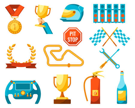 auto sport set of racing icons color poster 矢量图像