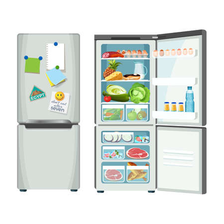 Fridge closed and full of products, vector refrigerator for food storage, silver case with metal handles, colorful notes and magnets pinned to ice-box door Иллюстрация