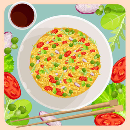 Fried rice with vegetables and sticks for Chinese food, onion and tomato, peas and lettuce leaves. Top view of dish asian cuisine cooking vector poster Stock Vector - 115089658
