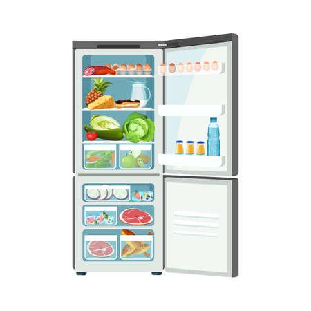 Réfrigérateur contenant des aliments avec œufs viande lait fruits légumes poisson et fromage congelés, glacière moderne vectorielle isolée, icône de stockage de produits confortable Vecteurs