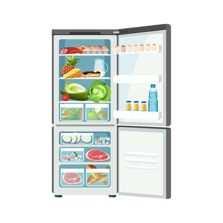 Refrigerador contenedor de alimentos con huevos carne leche frutas verduras pescado congelado y queso, caja de hielo moderna vector aislado, icono de almacenamiento de productos cómodos Ilustración de vector